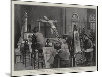 Passion Week in the Art Schools at Rome, Painting a Crucifixion from Life--Mounted Giclee Print