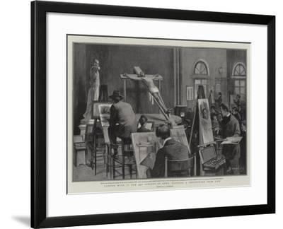 Passion Week in the Art Schools at Rome, Painting a Crucifixion from Life--Framed Giclee Print
