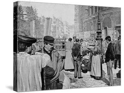 Corner of the Market Near the Church of Saint Eustache, Les Halles, Paris, 1896--Stretched Canvas Print