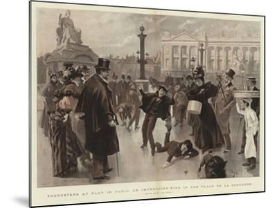 Youngsters at Play in Paris, an Improvised Rink in the Place De La Concorde--Mounted Giclee Print