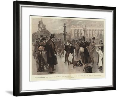 Youngsters at Play in Paris, an Improvised Rink in the Place De La Concorde--Framed Giclee Print