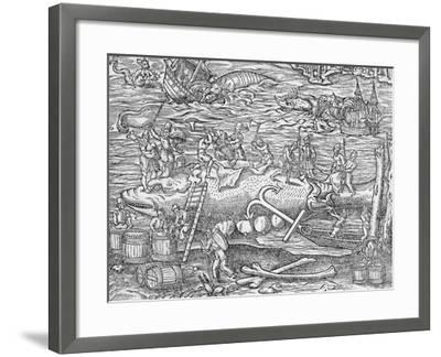 Whale Fishing from 'Cosmographie Universelle', by Andre De Thevet, 1575--Framed Giclee Print