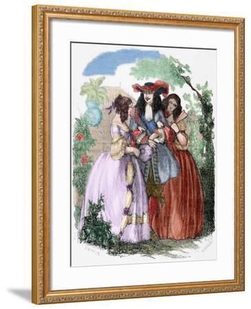 The Young King Strolling with the Mancini Sisters, Nieces of Cardinal Mazarin--Framed Giclee Print