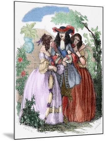 The Young King Strolling with the Mancini Sisters, Nieces of Cardinal Mazarin--Mounted Giclee Print