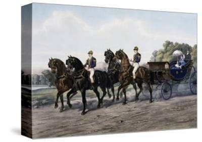 Open Carriage Drawn by Four Horses, 1863, by Guerard, France, 19th Century--Stretched Canvas Print