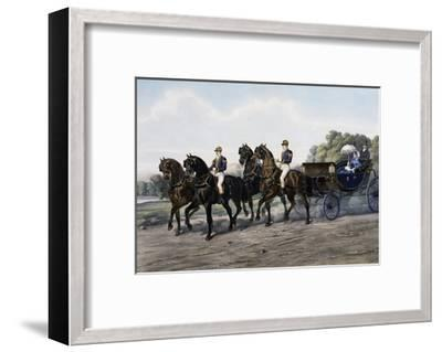 Open Carriage Drawn by Four Horses, 1863, by Guerard, France, 19th Century--Framed Giclee Print