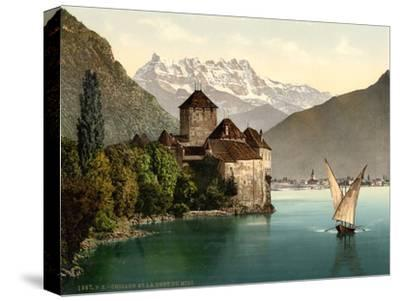 Chillon Castle, and Dent Du Midi, Geneva Lake, Switzerland, C.1890-C.1900--Stretched Canvas Print