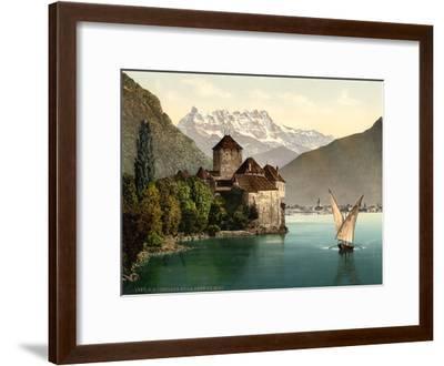 Chillon Castle, and Dent Du Midi, Geneva Lake, Switzerland, C.1890-C.1900--Framed Premium Giclee Print