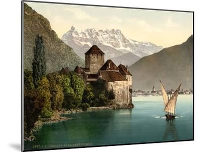 Chillon Castle, and Dent Du Midi, Geneva Lake, Switzerland, C.1890-C.1900--Mounted Premium Giclee Print