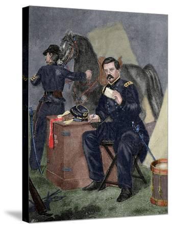 George Brinton Mcclellan (1826 Ai? 1885). Militar (American Civil War).. 19th Century. Coloured--Stretched Canvas Print