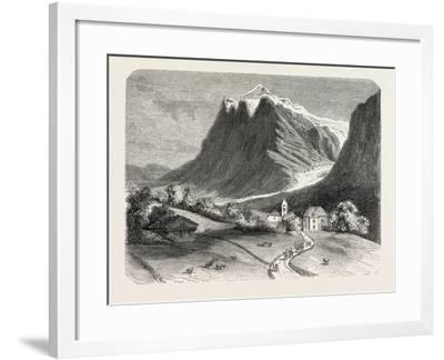 The Village of Grindelwald and the Glacier, Near the Wetterhorn. Switzerland, 1855,--Framed Giclee Print