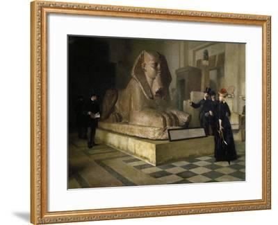 Egyptian Room of Louvre and Great Sphinx, by Guillaume Larue (1851-1935)--Framed Giclee Print