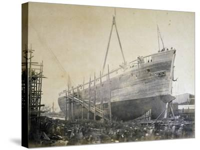 Battleship Re D'Italia under Construction in Webb Shipyard in New York, USA, 19th Century--Stretched Canvas Print