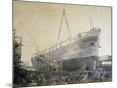 Battleship Re D'Italia under Construction in Webb Shipyard in New York, USA, 19th Century--Mounted Giclee Print