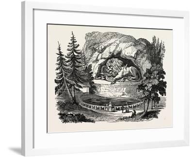 The Lion of Thorwaldsen. Bertel Thorvaldsen, Ca. 1770 1844, Was a Danish Sculptor--Framed Giclee Print