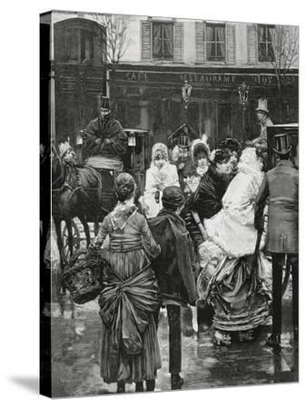 France. Paris. Street Scene. Bourgeois Family Boarding a Horse Carriage., 1864--Stretched Canvas Print