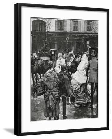 France. Paris. Street Scene. Bourgeois Family Boarding a Horse Carriage., 1864--Framed Giclee Print