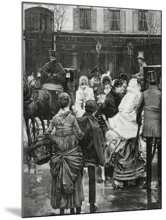 France. Paris. Street Scene. Bourgeois Family Boarding a Horse Carriage., 1864--Mounted Giclee Print