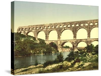 Roman Bridge over the Gard, Constructed by Agrippa, Nîmes, France, C.1890-C.1900--Stretched Canvas Print