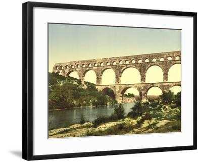 Roman Bridge over the Gard, Constructed by Agrippa, Nîmes, France, C.1890-C.1900--Framed Giclee Print