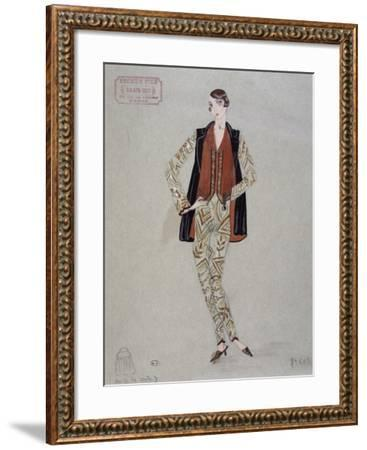 Printed Shirt, Pants and Waistcoat, Model by Becker Fils - Paris, 1926, Watercolour, France--Framed Giclee Print