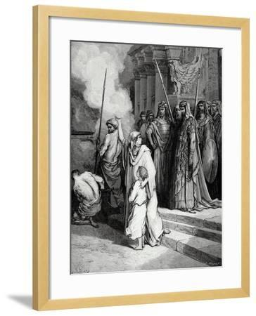 Bible. the Courage of a Mother of Maccabees. Illustration by Gustave Dore. II Maccabees--Framed Giclee Print