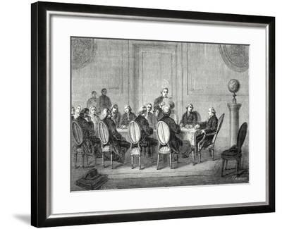 Joseph Banks Reads the Letter of Volta Announcing the Discovery of the Electric Battery before the --Framed Giclee Print