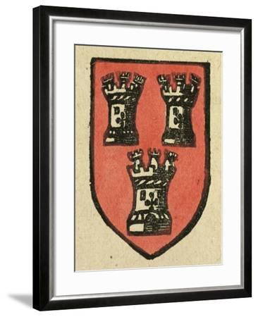 Illustration of English Tales Folk Tales and Ballads. a Coat of Arms Depicting Three Castles--Framed Giclee Print