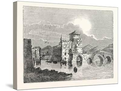 The Channel of the Euri'Pus and the Modern Town of E'Gripos: the Bridge of the Euripus--Stretched Canvas Print