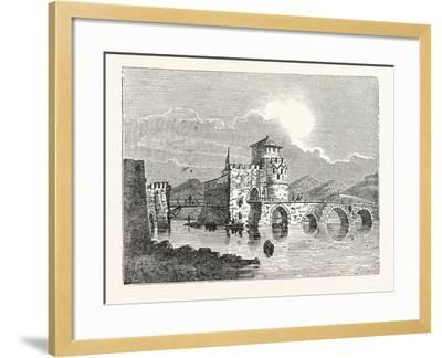 The Channel of the Euri'Pus and the Modern Town of E'Gripos: the Bridge of the Euripus--Framed Giclee Print