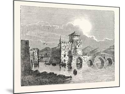 The Channel of the Euri'Pus and the Modern Town of E'Gripos: the Bridge of the Euripus--Mounted Giclee Print