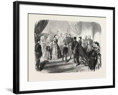 Meeting of the French and Spanish Royal Families in the Hotel De Ville, St. Sebastian, 1865--Framed Giclee Print