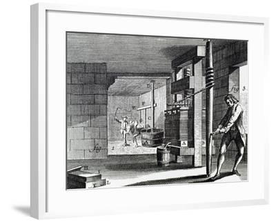 Workshop Dedicated to Handcrafting the Paperboard. 18th Century.--Framed Giclee Print