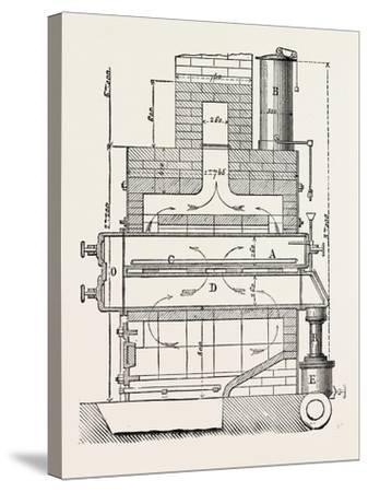 Compressed Oil Gas for Lighting Cars, Steamboats, and Buoys: Section a Furnace, 1882--Stretched Canvas Print