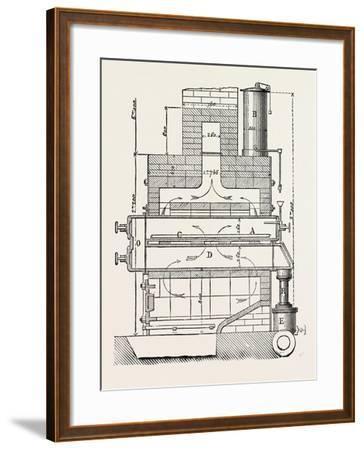Compressed Oil Gas for Lighting Cars, Steamboats, and Buoys: Section a Furnace, 1882--Framed Giclee Print