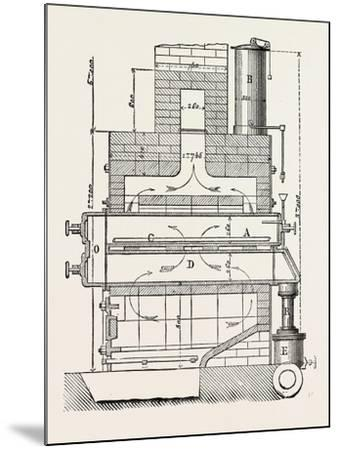 Compressed Oil Gas for Lighting Cars, Steamboats, and Buoys: Section a Furnace, 1882--Mounted Giclee Print