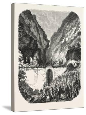 Opening Ceremony of the New Road Bridge Queyras (Hautes-Alpes), France. 1855--Stretched Canvas Print
