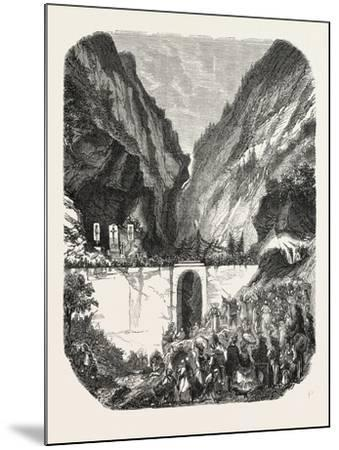 Opening Ceremony of the New Road Bridge Queyras (Hautes-Alpes), France. 1855--Mounted Giclee Print
