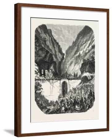 Opening Ceremony of the New Road Bridge Queyras (Hautes-Alpes), France. 1855--Framed Giclee Print