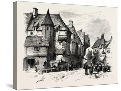 Old Houses at Dol or Dol-De-Bretagne, Normandy and Brittany, France, 19th Century--Stretched Canvas Print