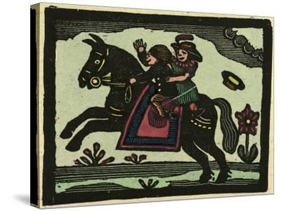 Illustration of English Tales Folk Tales and Ballads. Two Children on a Horse--Stretched Canvas Print