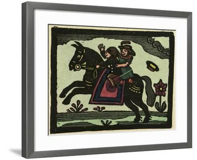 Illustration of English Tales Folk Tales and Ballads. Two Children on a Horse--Framed Giclee Print