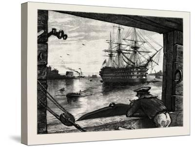 The Victory, Nelson's Ship. Horatio Nelson, 1st Viscount Nelson, British Admiral--Stretched Canvas Print