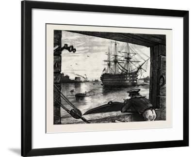 The Victory, Nelson's Ship. Horatio Nelson, 1st Viscount Nelson, British Admiral--Framed Giclee Print