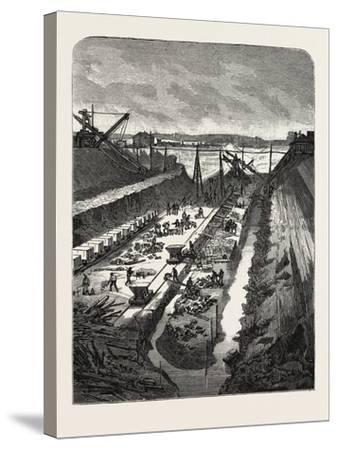 France: Changing the Course of the Seine, View at the Head of the Cut, 1880 1881--Stretched Canvas Print
