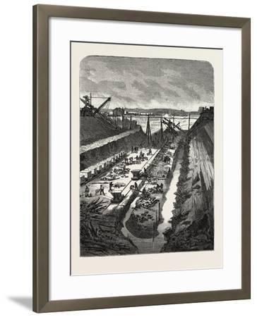 France: Changing the Course of the Seine, View at the Head of the Cut, 1880 1881--Framed Giclee Print