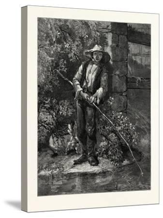 An Idle Dog. Fishing, Stream, Outdoors, Romantic, John S. Davis, Printer--Stretched Canvas Print