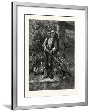 An Idle Dog. Fishing, Stream, Outdoors, Romantic, John S. Davis, Printer--Framed Giclee Print