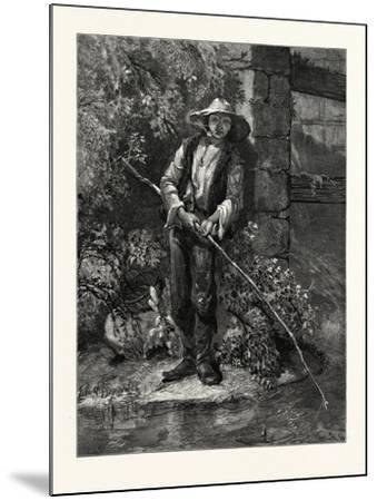 An Idle Dog. Fishing, Stream, Outdoors, Romantic, John S. Davis, Printer--Mounted Giclee Print