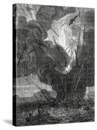 Robert Fulton Blows Up a Boat with His Infernal Machine in the Harbor of Brest--Stretched Canvas Print